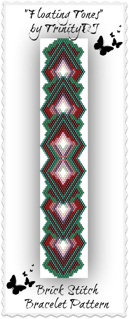 """New pattern listed in my Etsy shop: """"Floating Tones"""" - Brick Stitch Bracelet Pattern - One of A Kind In The RAW design. Please follow this link for more info: https://www.etsy.com/listing/171748123/bp-br-038a-floating-tones-brick-stitch"""