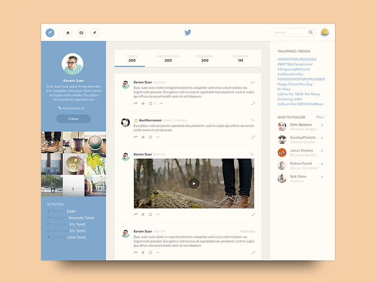 Twitter Profile by Bluroon. Everything looks great, but I was find a more friendly shade of blue.