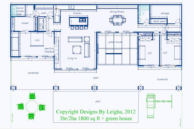 This is similar to our next home floorplan idea. Simple Underground Home with green houses - Eco Village