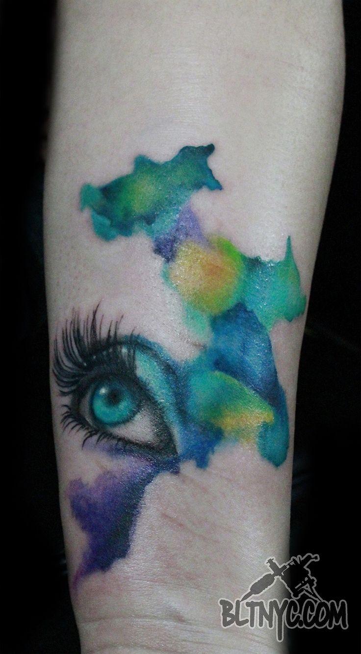 Abstract Eye Watercolor Tattoo by Nasa at BLTNYC Tattoo Shop Queens #tattoo #watercolortattoo #abstracttattoo