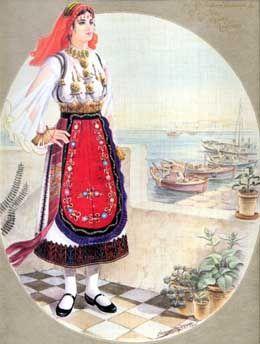 Αιγινήτισσα με την τοπική φορεσιά της και με θέα το λιμάνι της Αίγινας.