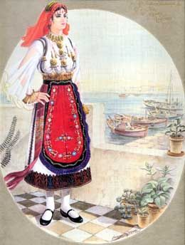 Traditional costume from Aghia Anna in Euboea Island (Identifying information from Asimina Nteliou, author of a new book on the folk costumes of the area.)
