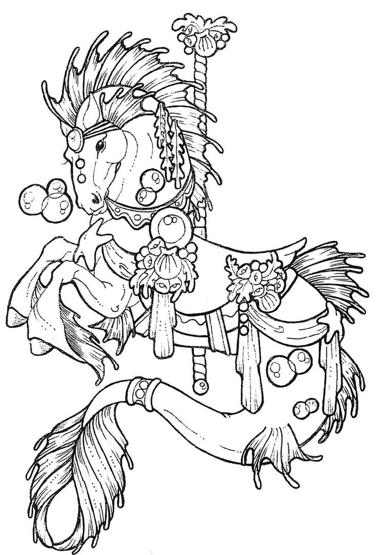 Free coloring horse pictures to print - Horse Carousel Colouring Pages 234596 Carousel Horse Coloring Page