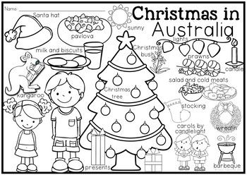 Christmas Around the World Coloring Pages and Vocabulary Posters #zz #zwyanezade