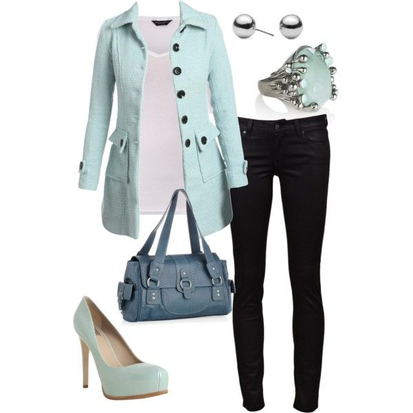Cold As Ice, created by blue-star-marie.polyvore.com: Fashion, Clothes, Clothing, Blue, Color, Bag, Outfit, Styles, Coat