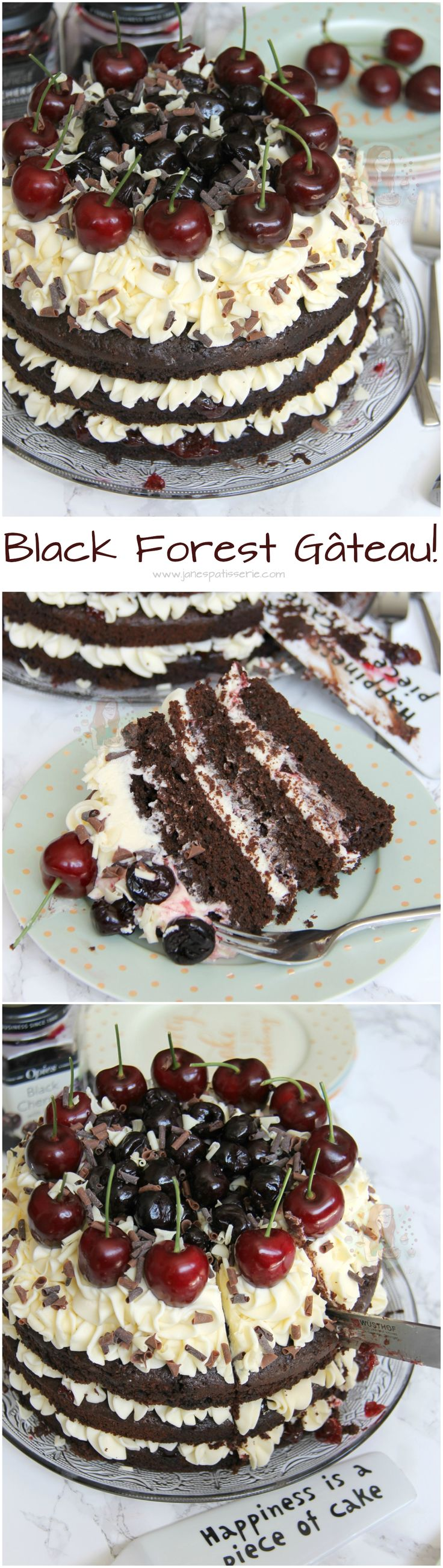 Black Forest Gateau! ❤️ A Three Layer, Chocolate and Kirsch Sponge, with Vanilla Buttercream, and all things Cherry and Chocolate.