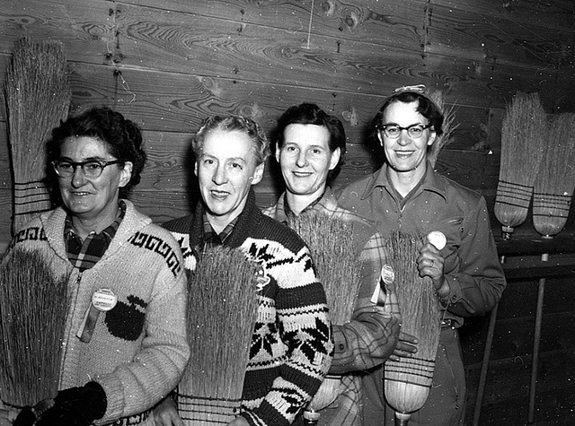 Women's Curling Champs, Lethbridge, Alberta, February 29, 1956. #sports #curling #vintage #Canada #1950s