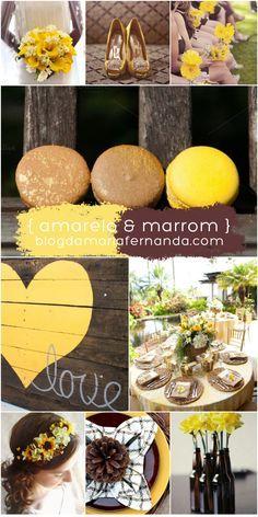 Decoração de Casamento Paleta de Cores Amarelo e Marrom   Inspiration Board Wedding Colors Yellow and Brown  blogdamariafernanda.com