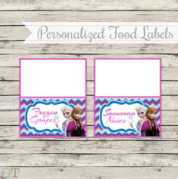 FROZEN Personalized Food Labels Or Blank Instant Download