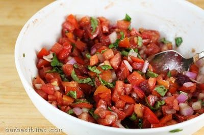 Bruschetta - 2 C diced tomatoes (squeeze out seeds before dicing) 1/3 C diced red onion 1/2 Tbs balsamic vinegar 1 tsp extra virgin olive oil 1/4 tsp kosher salt a few cracks black pepper 1/4 C chopped fresh basil leaves 1 french baguette or bread of your choice additional olive oil 1 large garlic clove optional- fresh mozzarella cheese. I personally used more vinegar and salt