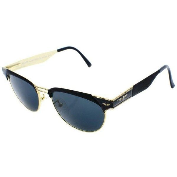Police Black Clubmaster Style Sunglasses ($171) ❤ liked on Polyvore featuring accessories, eyewear, sunglasses, police sunglasses, oval sunglasses, police glasses, blue lens sunglasses and blue lens glasses