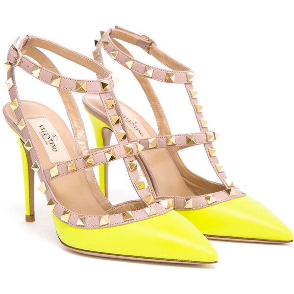 VALENTINO Rockstud Leather Heels (26,135 THB) ❤ liked on Polyvore featuring shoes, pumps, heels, valentino, sapatos, ankle strap stilettos, neon pumps, leather shoes, ankle strap pumps and stiletto pumps