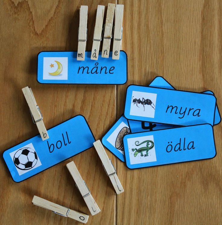 Min blogg om allt mellan himmel och jord: Montessorimaterial: parövning icke ljudenliga ord .. med bokstavs tvättklämmor.