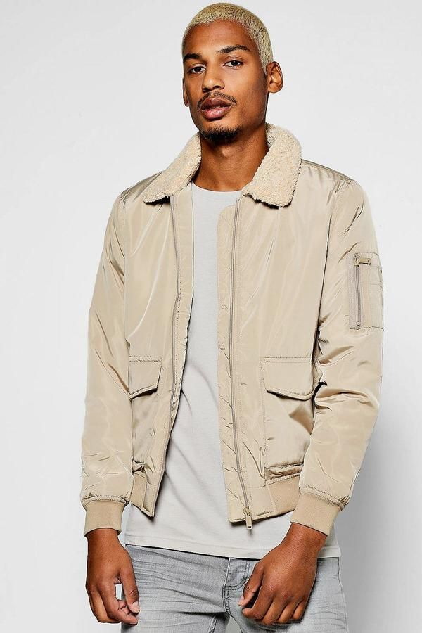 boohoo Borg Collar Harrington Jacket With Patch Pockets Klick to see the Price #men #fashion #male #style #menfashion #menwear #menstyle #clothes #boots #man #ad