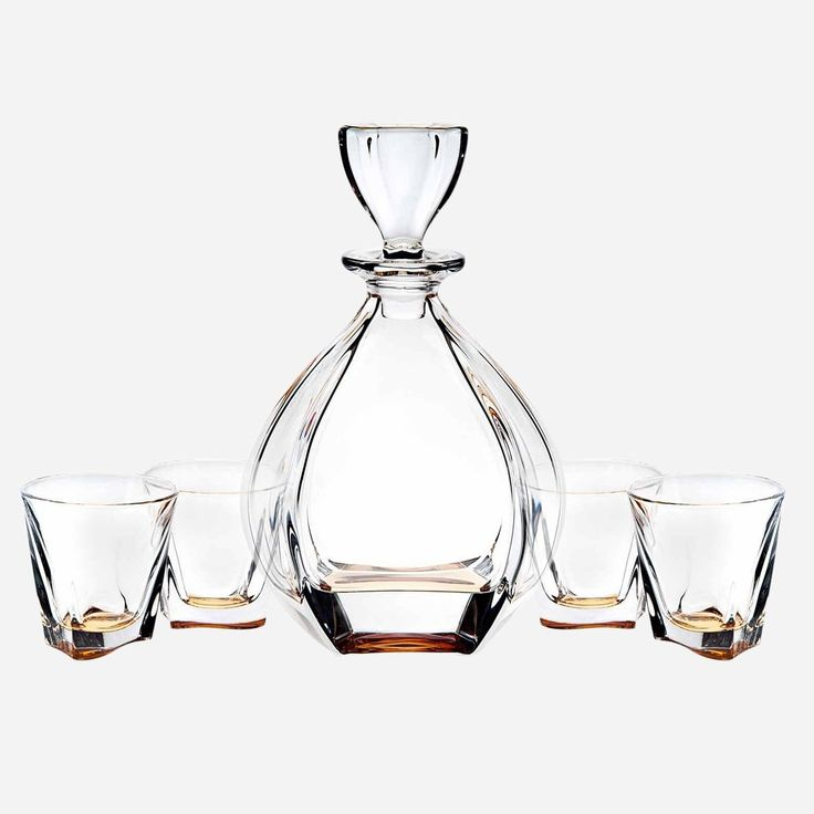 James Scott Brookdale Amber European Made 5 Piece Crystal Bar Set, for Whiskey, and Wine. This set includes a 32oz Decanter with a diamond shaped stopper , and 4 x 9 oz. crystal DOF Glasses.