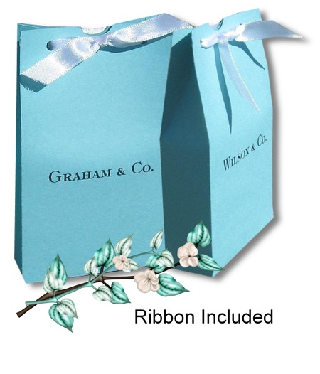 """""""Breskfast at Tiffanys"""" goody-bags for the guests with last names on them ! so cute"""