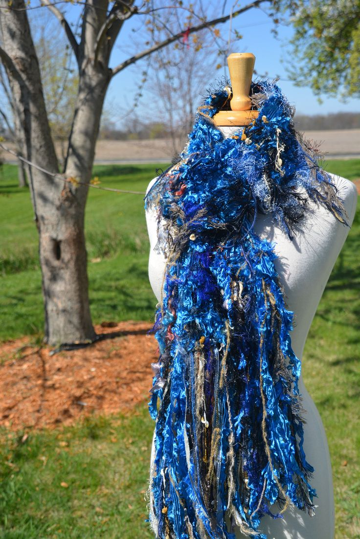 Knit Fringe art scarf, Dumpster Diva Series, Royal Blue satin ribbon knit artsy fringed wide scarf, ribbon scarves, wearable art scarf by RockPaperScissorsEtc on Etsy