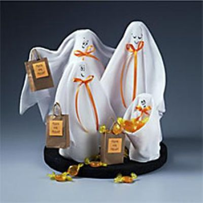 Cute centerpiece from Michaels crafts section! I love it!: Halloween Decor, Holiday Halloween, Ghostly Trick Or Treat, Halloween Crafts Cards, White Fabric, Fall Halloween, Centerpieces, Halloween Ideas, Trick Or Treat Centerpiece