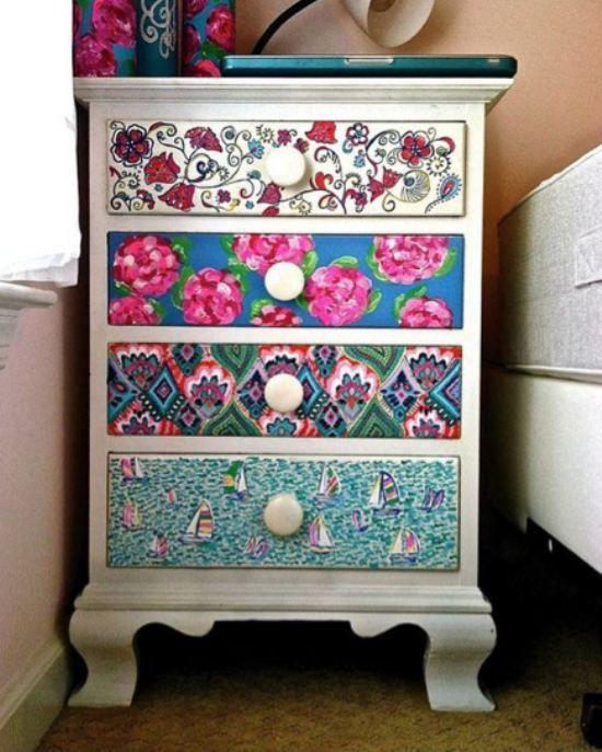 Repainted Dresser with Lilly Pulitzer patterns on drawers!