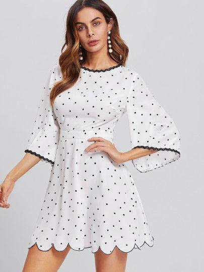 58f91661a65a Bell Sleeve Open Back Scalloped Polka Dot Dress -SheIn(Sheinside ...