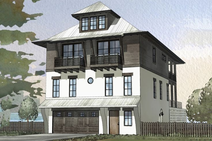 42 best coastal house plans images on pinterest coastal for Beach house elevation designs