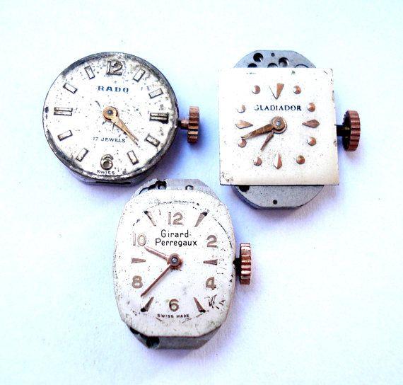 Antiguo Lote Relojes Suizos Tres Movimiento Rado  por shopvintage1