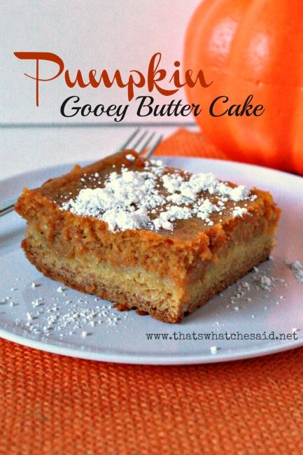 Gooey Butter Cake Pumpkin~ The cake creates a sweet buttery crust for the delicious pumpkin gooey filling! So delish... Make this for a dessert or make it for breakfast or brunch!