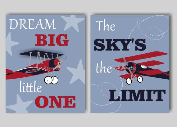 Airplane Nursery Art Boys Airplane Nursery Bedding Decor Dream Big  Vintage Airplane Nursery Wall Art Choose Colors - 2 8 x 10 Prints