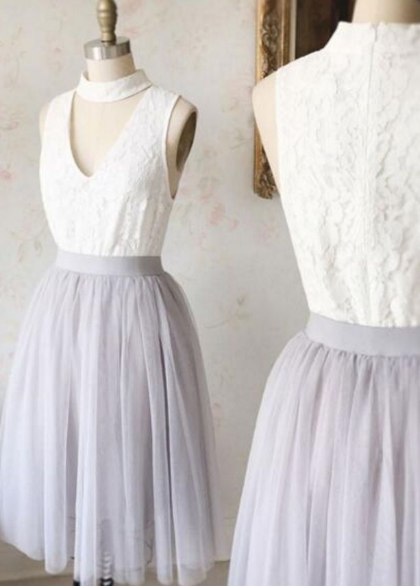 V Neck Lace and Tulle Short Evening