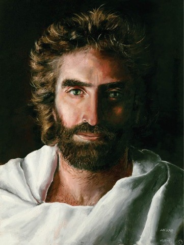 A picture created by a young girl of how she saw Jesus. A boy who died and went to heaven and then was revived later saw this pic and said that this picture is a depiction of the Jesus he saw.