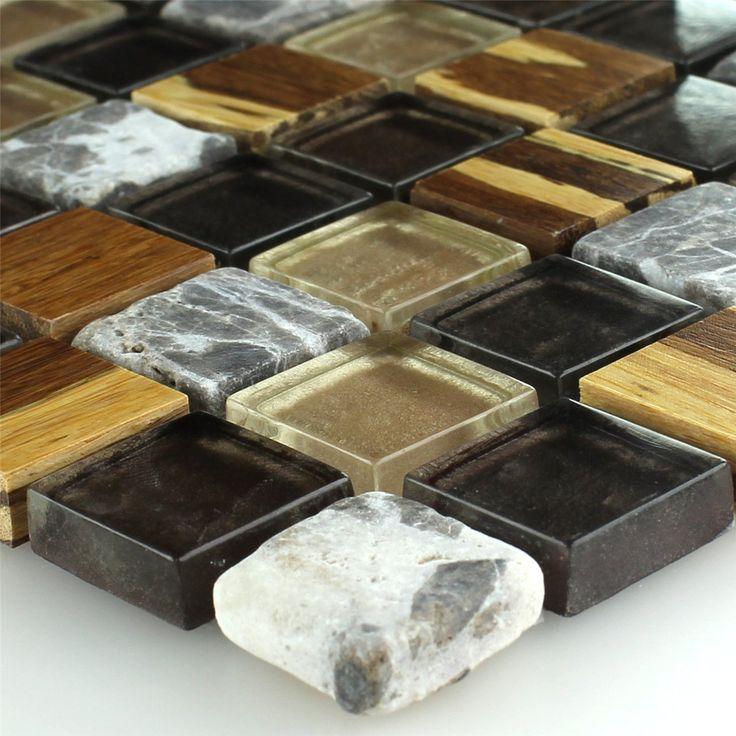 Bambus Naturfaser Marmor Glas Mosaik Fliesen Bunt