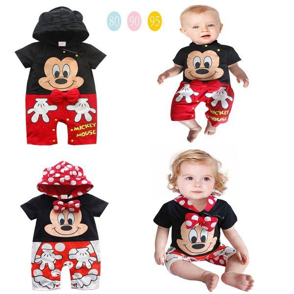 Bebê meninos e meninas romper / Cartoon romper manga curta com bowknot / 2 estilo: Mickey Mouse Minnie Mouse US $10.90 - 13.90