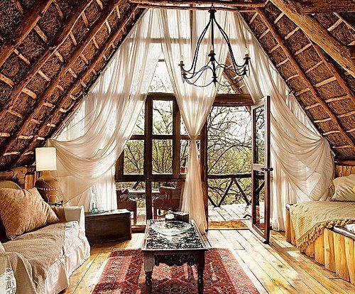 bedroom in the attic... amazingIdeas, Curtains, Attic Spaces, Dreams House, Loft, Trees House, Attic Room, Windows, Bedrooms