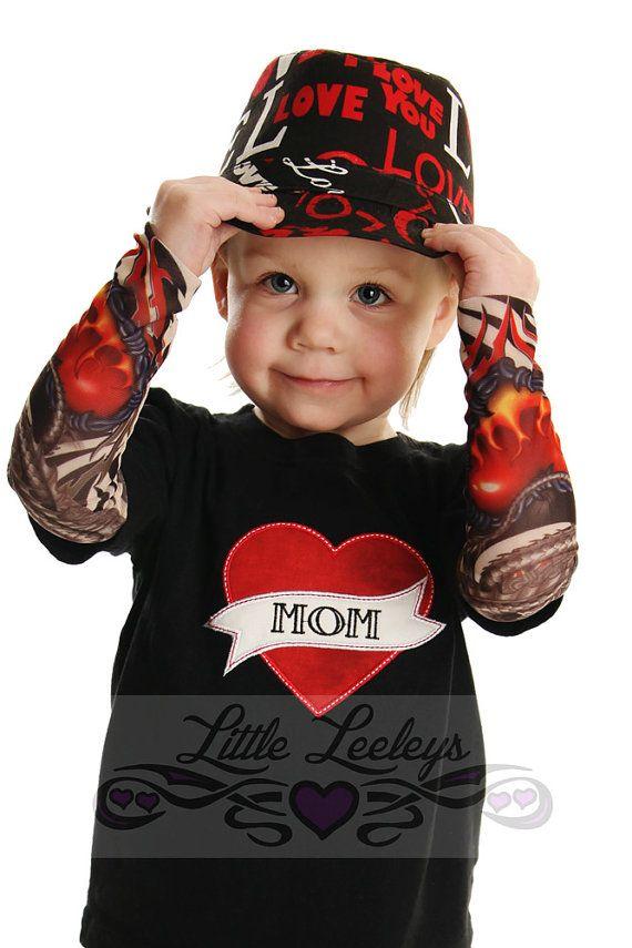 T-shirt manches tatouage avec papa ou maman applique coeur pour bébé et enfant en bas âge sur Etsy, $26.30