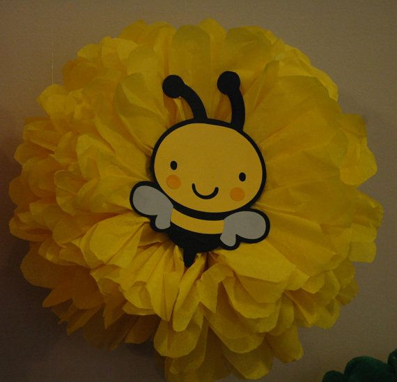 Tissue pom pom - Bumble Bee Party Poms - Birthday, shower decoration
