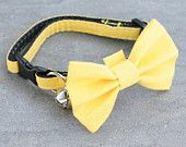 Cat Collar with Bow Tie - Yellow