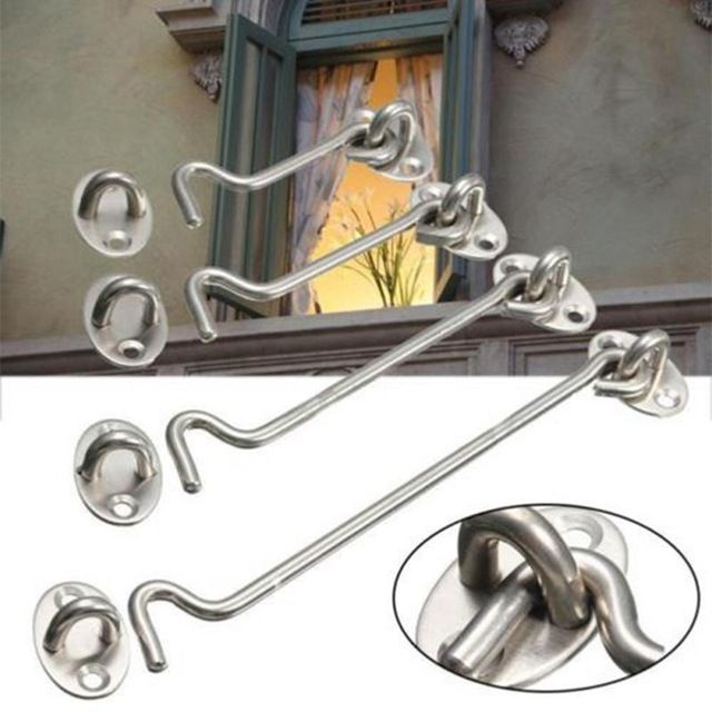 8 Sizes Stainless Steel Cabin Hook And Eye Latch Lock Shed Gate