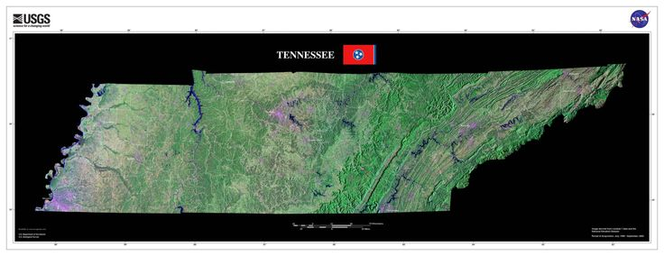 Tennessee Satellite Poster Map
