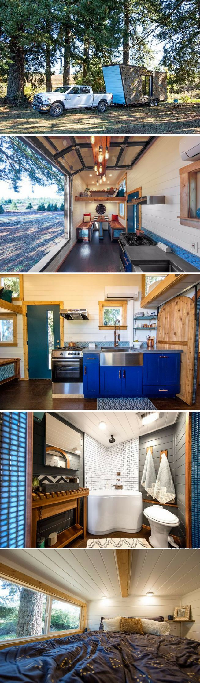 a tiny house from tiny heirloom with a bouldering wall on the homes exterior - Tiny House Mobile