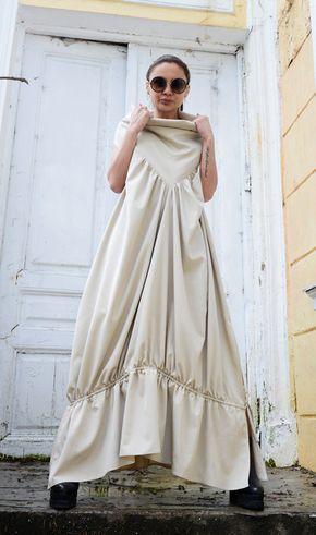 Asymmetric Loose Long Dress/Cream Color by Metamorphoza on Etsy