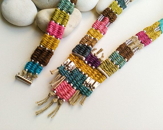Long woven ethnic necklace and cuff bracelet, Tapestry boho jewelry set, Handwoven wrap bracelet, Tribal textile jewelry, Unique women gift