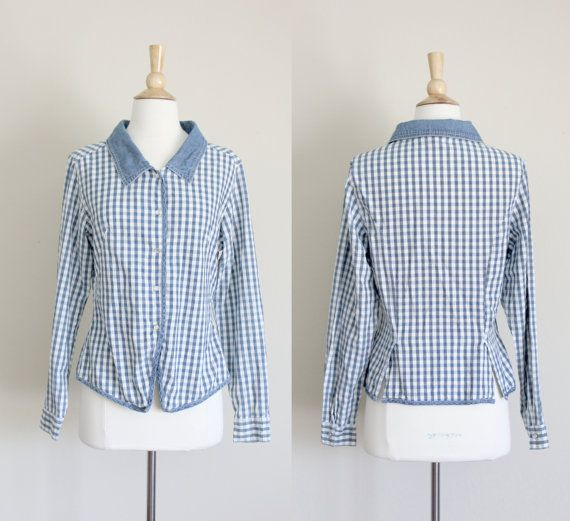 1980s Denim Gingham Blouse by No Boundaries by apotheosisvintage