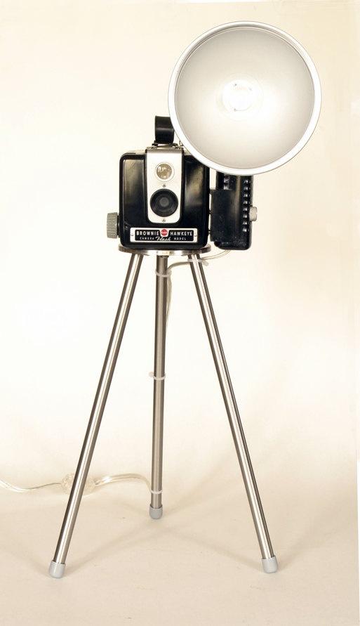 Vintage Kodak Brownie Hawkeye Camera Flash Model  Tripod Table Lamp. $149.00, via Etsy.