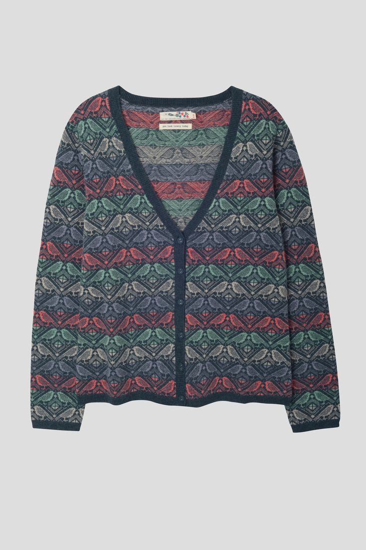Matilda Cardigan | Lambswool cardigan with bird knit pattern