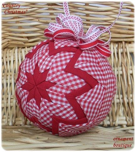 Quilted Christmas Ornament red gingham fabric white