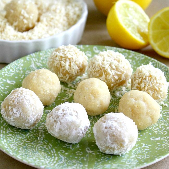 Lemon Meltaway Balls using almond meal/flour, coconut flour, lemon juice, maple syrup, vanilla extract. can roll in coconut, powdered sugar, or raw cane sugar
