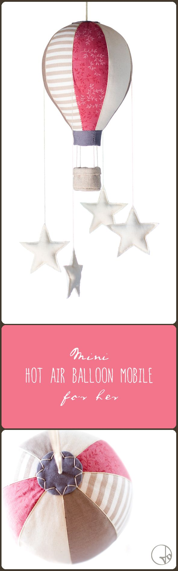 Mini hot air balloon mobile with four little stars for her. A lovely nursery decor to hang over the crib of your baby! By Jo handmade design #mobile #baby #hotairballoon