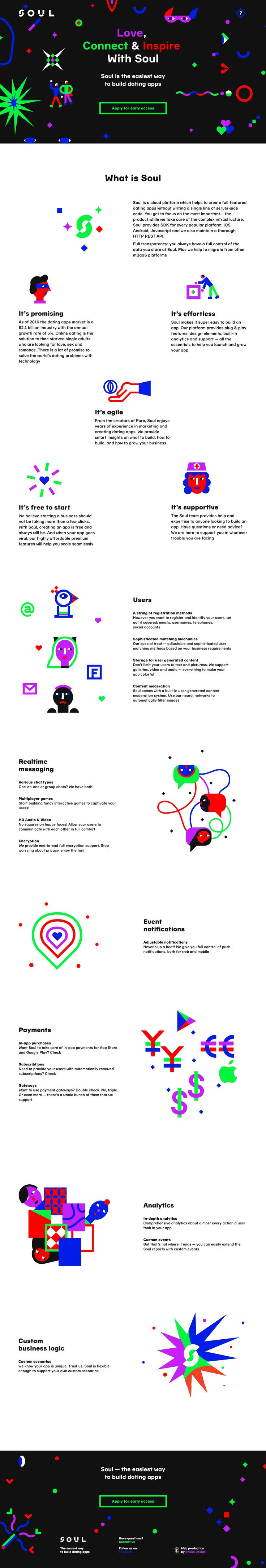 Long scrolling One Pager with colorful SVG illustrations for 'Soul' - a cloud platform which helps to create full-featured dating apps.