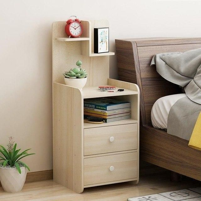Movable Wood Bedroom Furniture Cabinet Bedside Table Aticgom Wood Bedroom Furniture Furniture Bedroom Bedside Cabinets