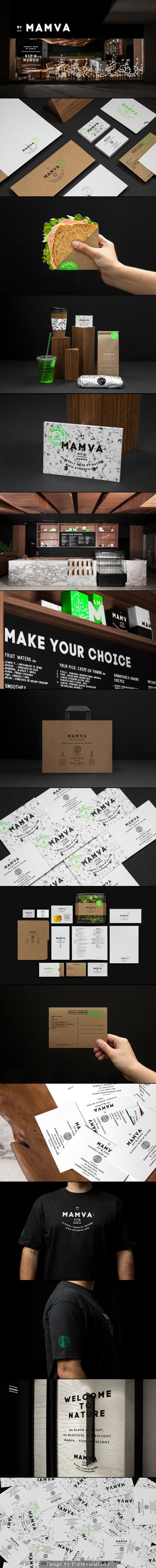 Mamva branding corporate identity stationary logo letterhead business card enveloppe minimal graphic design kraft paper texture packaging eat & drink menu type typography